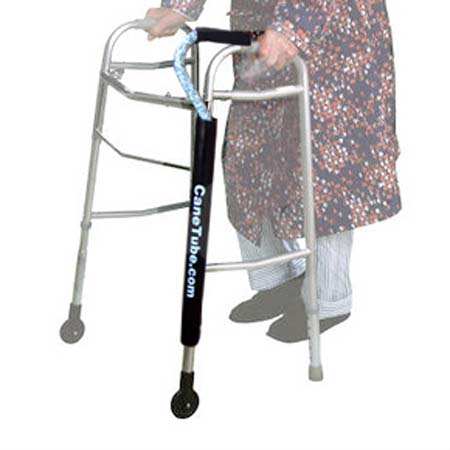 CaneTube with a cane on traditional aluminum walker