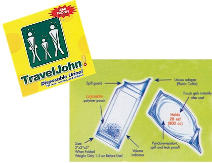 Travel John Disposable Urinal for Men, Women and Children INV66893